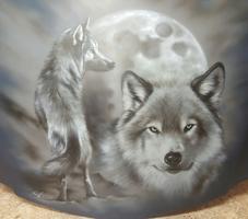 Wölfe und Mond 1