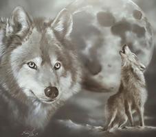 Wölfe und Mond 2