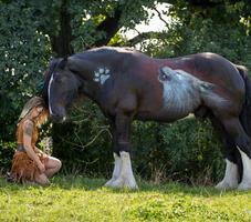 Frau und Pferd mit Airbrush
